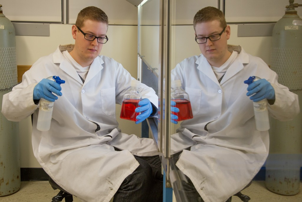 Kyle, getting twice as much work done in the tissue culture hood.