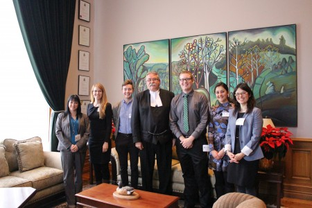 Tammy Villeneuve (OLA), Andrea Kellner, Justin Boyle, MPP Dave Levac, Kyle Novakowski, Dessi Loukov and Dr. Dawn Bowdish meet to discuss the Lung Health Act.