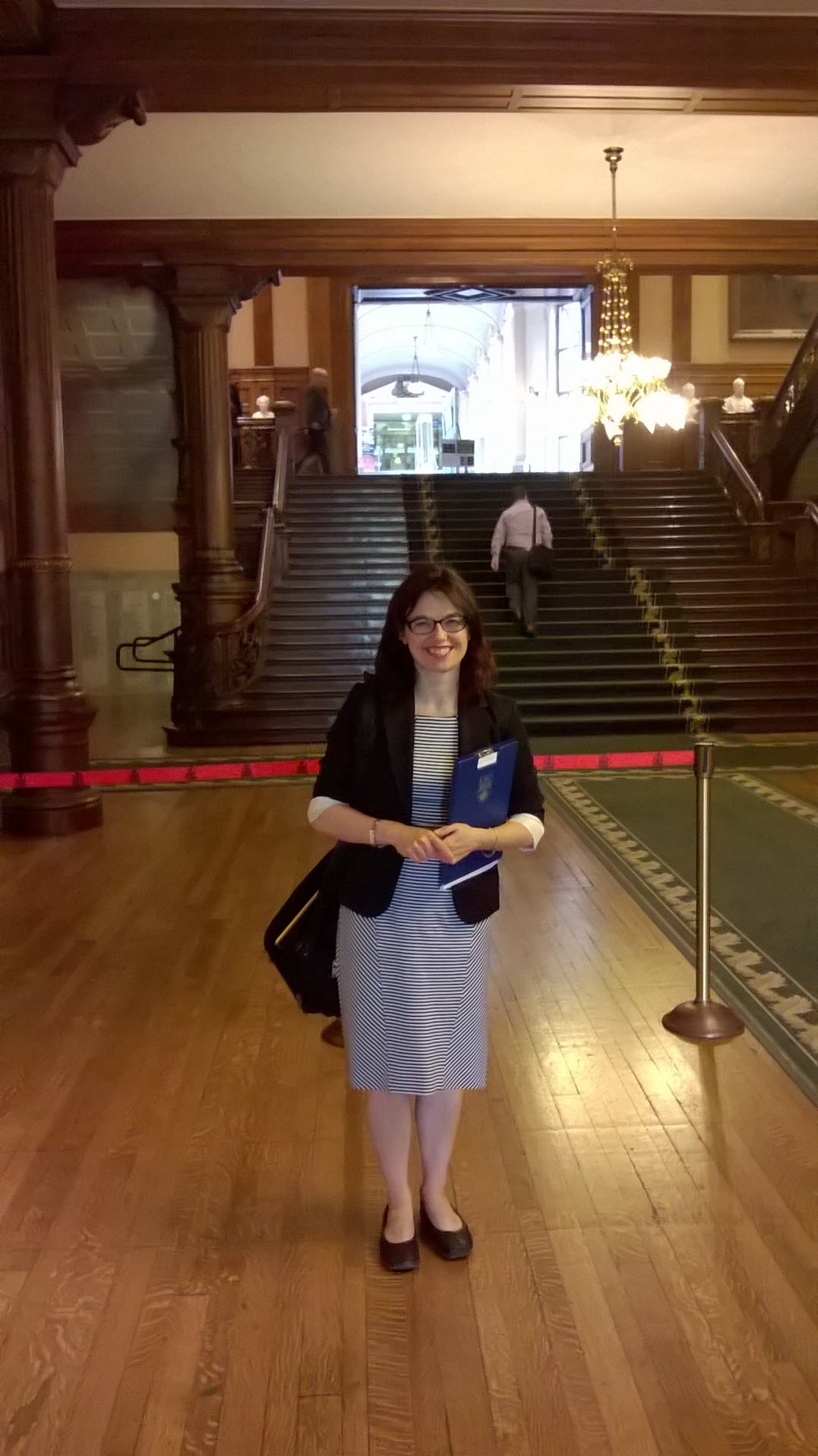 Dawn at Queen's Park after her deputation on Bill 41- The Lung Health Act. The Bowdish lab participates in democracy!