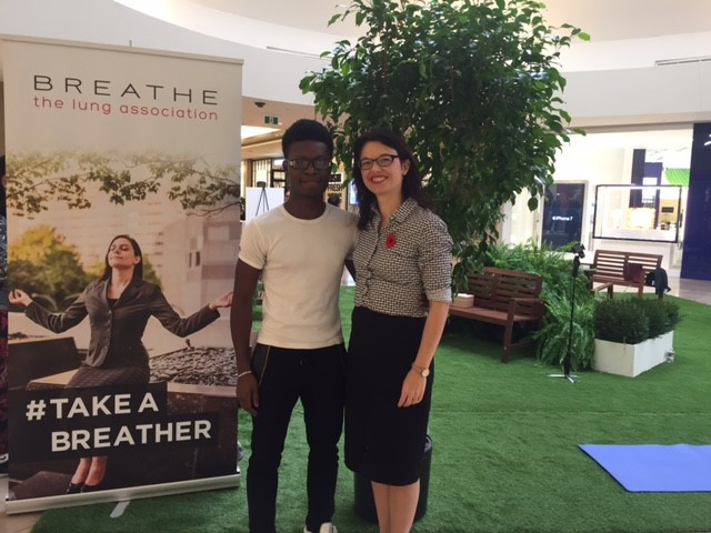 "Joseph Neale is a ""Breathing Ambassador"" who survived lung cancer when he was only 20 years old. Despite having surgery he got his voice back and is hoping to win a ""Grammy for Lung Cancer Research"". Together we answered questions at the #TakeABreather pop-up park at Sherway Gardens. Stories like his remind me that I need to be the best scientist that I can be to make the discoveries that will improve the lives of those living with lung disease."